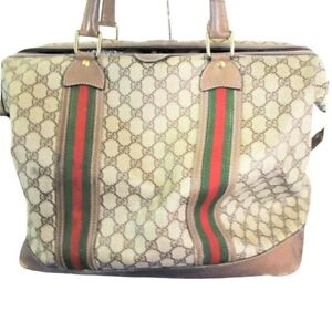 Vintage Gucci Monogram Large Hobo Brown Hand Bag Purse Luggage Made in Italy