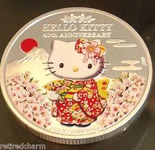 ❤️Sanrio Hello Kitty Souvenir 40th Anniversary Silver Plate Medallion Collect❤️