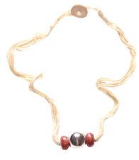 Minimalista & Chic Sfera Cromo & Perline Rosse Centro/Collana Marrone Chiaro (zx219)