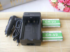 Two 2X CR-V3 CRV3 Rechargeable Battery + charger For Kodak CR-V3P Camera