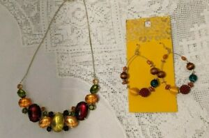Costume jewellery set statement necklace & dangle earring set -amber green red
