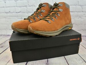 Merrell Ontario Mid Robe Brown Suede Hiking Air Cushioned Boots J65395 Sz 11.5 M