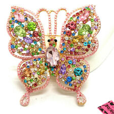 Butterfly Charm Brooch Pin Gifts Betsey Johnson Colorful Bling Rhinestone Flower