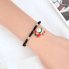 EB_ Men Women Santa Claus Resin Beads Bracelet Bangle Xmas Jewelry Gift Glee