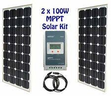 200W 2x 100W Solar Panel panneau solaire MPPT charge controller kit RV boat