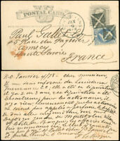 JAN 4 1878 New Orleans Cds to FRANCE, 2x 4 OPPOSING TRIANGLES FANCY CANCEL, #UX5