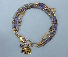 Amethyst Labradorite Citrine Gem Gold Triple Strand Bracelet Handcrafted