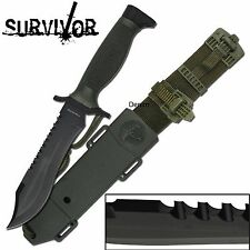 "SURVIVOR SURVIVAL KNIFE 12"" OVERALL BLACK REVERSE SAW BACK SERRATED BLADE KNIVES"