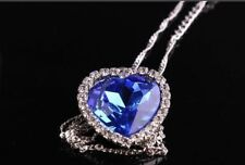Womens Fashion Jewelry Blue Sapphire Heart of the Ocean Pendant Necklace 5-3