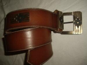 """Vintage 80s Avion Int'l Brown Leather Belt Large Buckle Boho Mod 36"""" Long"""