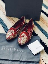 $870 NEW ALEXANDER MCQUEEN sz 35 Embroidered Leather Red Floral Loafers Flats