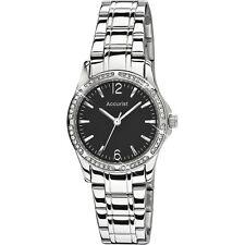 Accurist Stone Set Black Dial Stainless Steel Bracelet Ladies Watch LB1744B