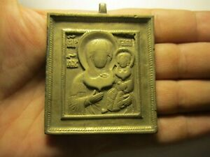 ICON: THE Blessed Mother of God of Smolensk.  18 century  Size 65mm № 99