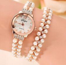 Reloj Pulsera de Mujer Platiado en Oro con Diamantes y Perlas de Lujo Estilo # 4