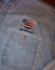 New listing Walt Disney World Mickey Mouse Denim Shirt Men's Stitched Usa Flag Ears Size Xl