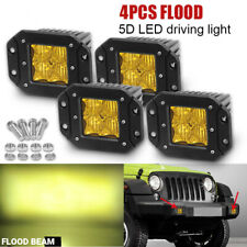 "4X 5"" 24W Flush Mount LED Pods 5D Amber Flood Work Light Bar Offroad Backup 4WD"