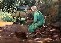 William S. Bagdatopoulos -Artist at Easel, Santa Barbara Garden, Calif. c.1930s