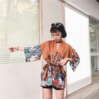 Womens Japanese Kimono Coat Loose Yukata Outwear Vintage Black Orange Cardigan
