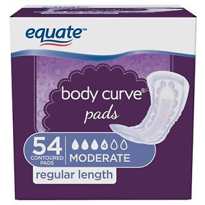 54 Count Equate Body Curve Women Incontinence Pads Moderate Regular 54 x 1 Pack