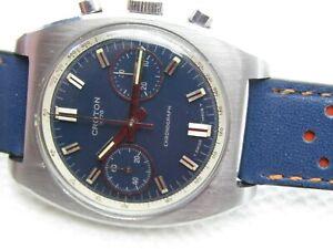 Vintage Croton Chronograph Valjoux 7733 Blue Dial Steel Case