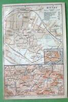 1904 (2) Two MAPS ORIGINAL Baedeker - GERMANY Zittau Town Plan & Environs