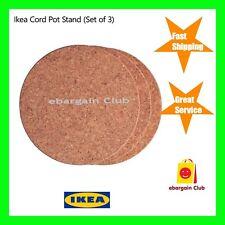 Ikea Pot Dish Saucepan Stand Cork Kitchen (Set of 3) Round Heat Resistant eBC