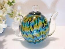 "DALE TIFFANY 6"" Art Glass TEAPOT Blown Glass PAPERWEIGHT Kitchen Accent W/LABEL"