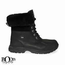 UGG BUTTE BLACK WATERPROOF LEATHER WINTER MEN'S BOOTS SIZE US 9/UK 8/EU 42 NEW