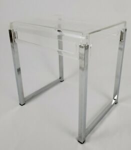 Vintage End Table Acrylic Lucite And Chrome Retro Mid-Century Modern Style