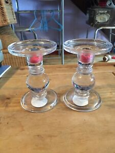 Glass Candle Holders X2 5 Inch