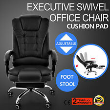 Executive Office Chair Reclining Leather High Back Armchair Footrest Ergonomic