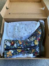 Dr Martens Size 4 Darcy 1B99 DF Navy Floral Backhand Straw Grain Boots Rrp 179