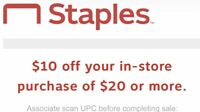 Staples coupon $10 off $20 In Store Only Expires 10/31/2020