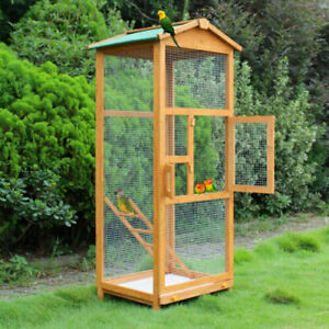 Large Bird Wooden Cage House Pet Budgie Toy Canary Parakeet Aviary Home