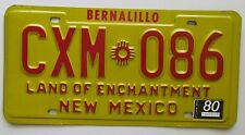 New Mexico 1980 BERNALILLO COUNTY License Plate HIGH QUALITY # CXM-086