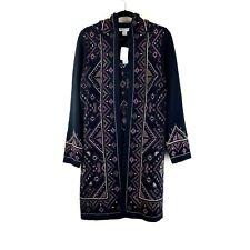 NEW Coldwater Creek Black Floral Long Sweater Cardigan Size Medium