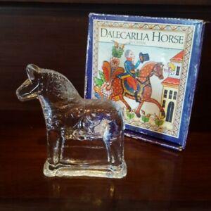 Lindshammar Glasbruk Sweden Crystal Dala Horse 11 cm Figurine & Box
