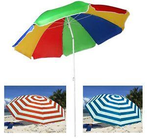 Garden Beach Patio Tilting Umbrella Parasol Sunshade UPF UV Protection Hook Base