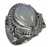 Handmade 925 Solid Sterling Silver Ring Natural Rainbow Moonstone Size 8.5 R2382