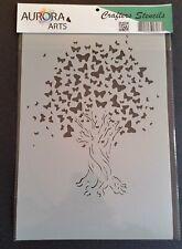 Stencil by Aurora Arts A4 Butterfly tree 190mic Mylar craft stencil 052