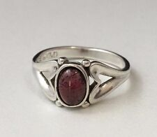 Sterling Silver Signed (M) Oval Cabochon Bezel Set Garnet Ring Size 7.0