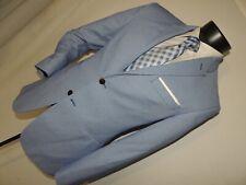 ZARA MAN men's MOD 2 button dual vents light Blue slim fit jacket coat 40 short