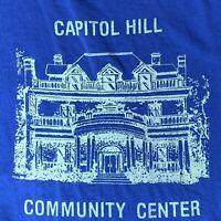 Capitol Hill Community Center XL T Shirt Single Stitch Blue Cotton Vintage