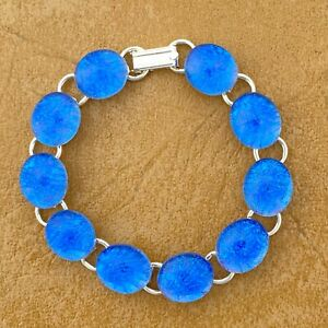 """Blue Fused Dichroic Art Glass Jewelry Silver Plated Link Bracelet 7 3/4"""""""