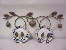 Set of 2 Apple & Leaves Themed Plate Holder Rack Wall Hanging Bronze Decorative