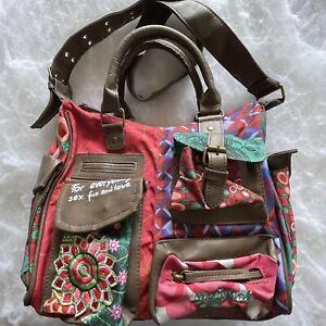 Desigual Women's Multcolour Crossbody Satchel Embroidery Shoulder Bag - Medium