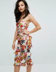 BNWT Pretty Little Thing Floral Tiered Ruffle Strapless Midi Dress UK 12