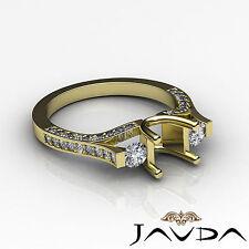 Genuine Round Diamond Three Stone Engagement Ring 14k Yellow Gold Semi Mount 1Ct