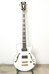 D'Angelico Excel Bass Semi-Hollow Bass Guitar - White