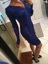 BCBG Maxazria Cocktail Small Blue Saphire Ruched Bodycon Long Sleeve Dress New